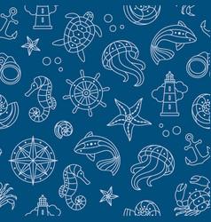Seaside seamless pattern vector