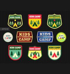 set of kids adventure summer camp emblem or badge vector image
