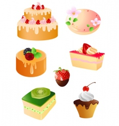 set of sweet dessert icons vector image vector image