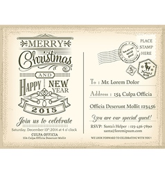 Vintage christmas happy new year holiday postcard vector