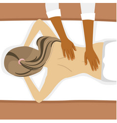 young woman receiving back massage in spa salon vector image