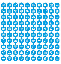 100 business group icons set blue vector image