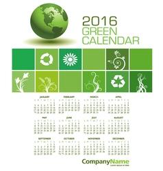 2016 Green Calendar vector