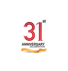 31 anniversary celebration logotype with red vector