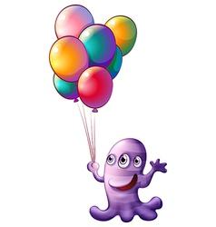 A monster holding balloons vector