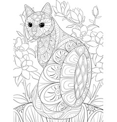 Adult coloring bookpage a cute cat on the floral vector