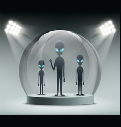 Aliens under a glass dome vector
