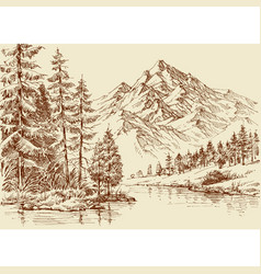 Alpine landscape river and pine forest sketch vector