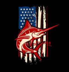 american flag with swordfish design element vector image