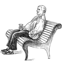 An elderly man is resting on a park bench vector