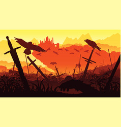 Background of landscape with the fallen soldiers vector