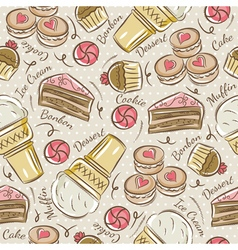 Background with cupcake ice cream and cake vector image
