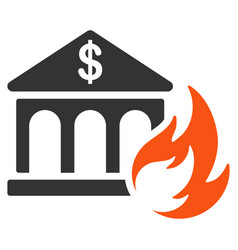 bank fire disaster flat icon vector image