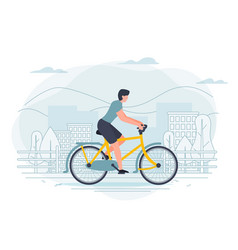 Banner template with man on a bike vector