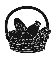 Basket with products icon in black style isolated vector
