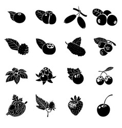 Berries icons set simple style vector