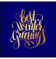 Best winter greetings blue handwritten lettering vector