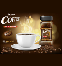 black instant coffee cup and beans ads design 3d vector image