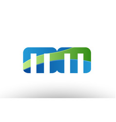 Blue green mm m m alphabet letter logo vector