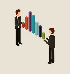 businessmen holding graph bars financial business vector image