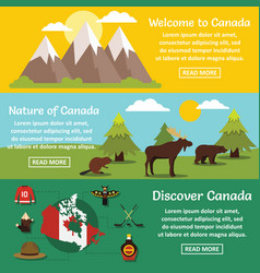 canada travel banner horizontal set flat style vector image