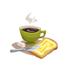 cartoon green mug with hot coffee bread with vector image
