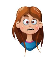 Cartoon head girl sad smiley vector