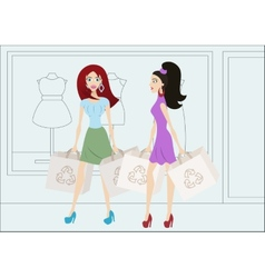 Cartoon shopping girls with reusable shopping bags vector image