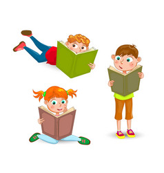 Children read the book with interest vector