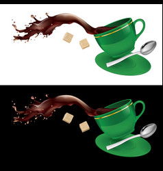 coffee in green cup on white and black background vector image