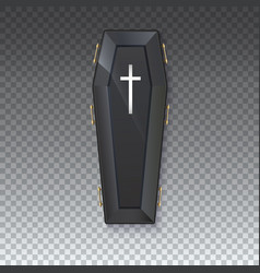 Coffin icon with a metal crucifix and handles on vector