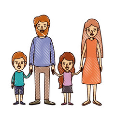 Color crayon stripe cartoon family with parents vector