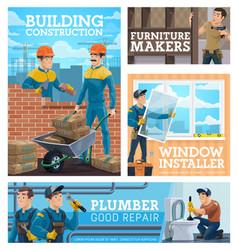 construction workmen house repair handyman poster vector image