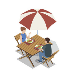 Couple having skewers at table vector