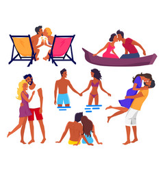 Couples in love on summer holidays vector