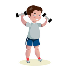 Cute boy exercising with dumbbells vector