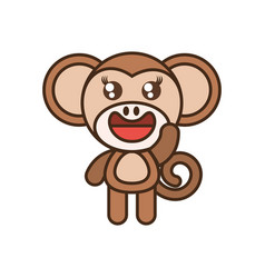 cute monkey toy kawaii image vector image