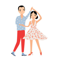 cute romantic couple dancing together pair of vector image