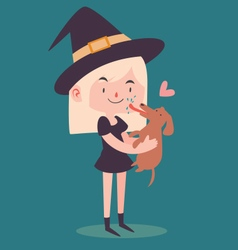 Cute Witch Holding Dog vector