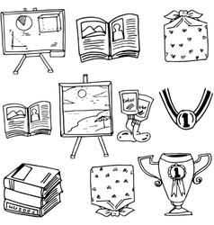 Doodle school education book vector image