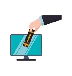 Ebook computer online reading internet icon vector