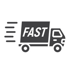 Fast shipping glyph icon delivery truck vector