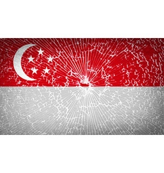 Flags Singapore with broken glass texture vector