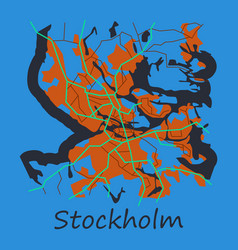Flat color map of stockholm sweden all objects vector