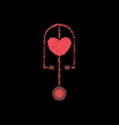 Flat shading style icon phonendoscope with heart vector