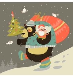 Funny bear with happy Santa Claus vector image