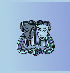 gemini girl portrait zodiac sign simple blue vector image