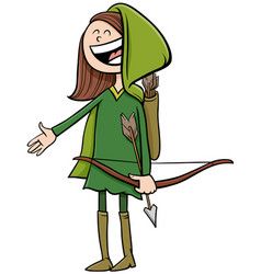 Girl in robin hood costume at halloween party vector