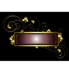 Gold frame decorated with golden curls beads vector