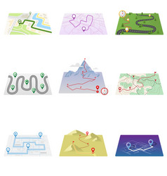 gps icons and route map set isolated on white vector image